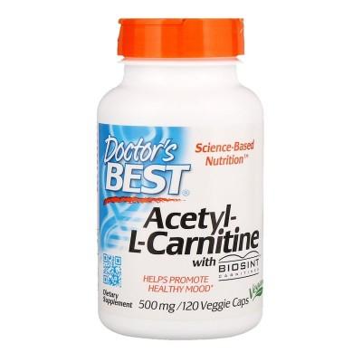 Acetil-L-Carnitina, 500 mg, 120 Cápsulas Vegetales Doctor's Best DOCTOR'S BEST DRB-00152 Estados emocionales, ansiedad, estré...